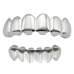 Teeth Grillz Plain Silver Tone Set