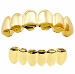 Hip Hop Grillz Plain Gold Plated Set