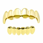 Plain Gold Plated  Fangs Grillz Set