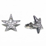 Star Silver Tone Stud Earrings