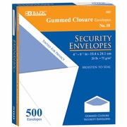 BAZIC #10 Security Envelope w/ Gummed Closure (500/Box)