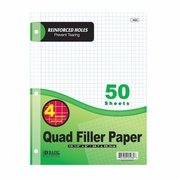 "BAZIC 50 Ct. 4-1"" Quad-Ruled Reinforced Filler Paper"
