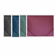 BAZIC Floral Embossed Letter Size Document Holder with Elastic Band
