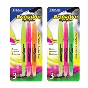 BAZIC Erasable Highlighter (3/Pack)