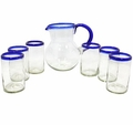 Blown Glass Pitcher with 6 Glasses. Blue Rim