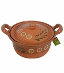 FOOD SAFE Large clay bowl w/lid. 3 pcs