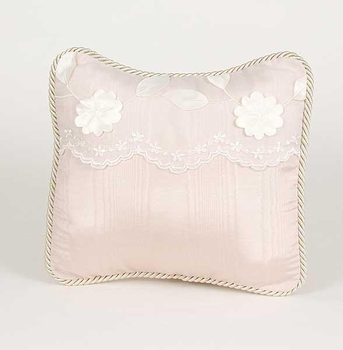 Glenna Jean Olivia Pillow - Pink Moire' with Dimensional Flower Header