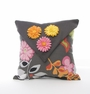 Glenna Jean Kirby Pillow - Floral/Charcoal with Dimensional Flowers