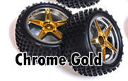 1/10th REAR Buggy Wheels+Rims 2PCS (Chrome Gold)
