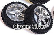 1/10th FRONT Buggy Wheels+Rims 2PCS (Chrome Silver)
