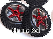 1/10th FRONT Buggy Wheels+Rims 2PCS (Chrome Red)