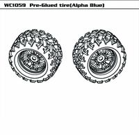 Pre-Glued tire (Alpha Blue) (Pair)
