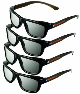 4 pairs - Adult Passive 3D Glasses Genuine eDimensional Sealed RealD Compatible Circular Polarized 3D Glasses for Passive 3D TV's Televisions from SONY, Panasonic, Vizio, Toshiba, LG, Philips and JVC and for use in Real-D Theaters