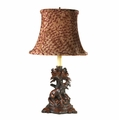 Burlwood Fox Candleholder Lamp with Feather Print Shade