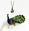 "Kingspoint ""Strutting Peacock"" Trinket Box and Necklace"