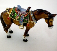 Swarovski Jeweled Brown Saddled Horse Jewelry Box