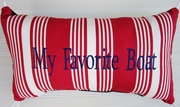 My Favorite Boat Pillow Red, blue, white