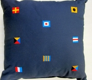 Nautical Code Flag Pillow  Multi Flag Navy