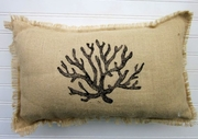 Burlap Coral Pillow