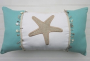 Aqua and Tan Starfish Pillow