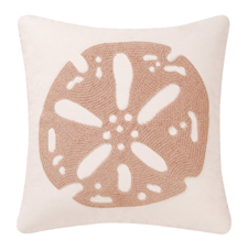 Tan and White Stitch Sand Dollar Pillow
