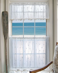 Coastal Curtains Tier White Shell Medium 45x30