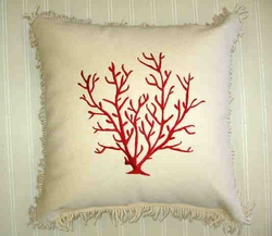 Coral Embroidered Pillow