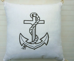 Black Anchor Pillow