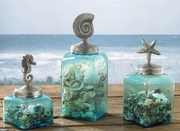 Set of 3 Aqua Coastal Jars