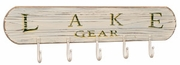 Lake Gear sign with hooks