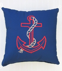Blue and Red Anchor Pillow