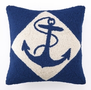 Nautical Hook Pillow Blue Anchor