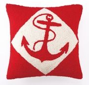 Nautical Hook Pillow Red Anchor