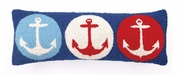 Nautical 3 Anchor Hook Pillow