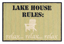 Lake House Rules Wool Hooked Rug