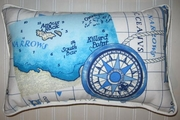 Blue Nautical Chart Pillow oblong