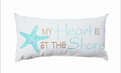 Cottage Pillow My Heart is at The Shore Aqua