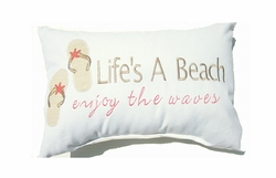 Cottage Pillow Life's a Beach Enjoy the Waves Coral