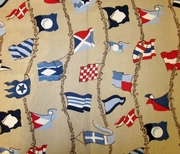 Nautical Flag Shower Curtain Taupe