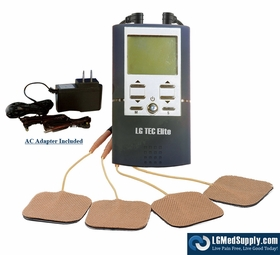 "(#1 TOP SELLER)  ""LG-TEC ELITE"" DIGITAL Dual COMBO TENS Unit and Muscle Stimulator (AC Adapter, Battery, Carrying Case, & Electrodes Included)"