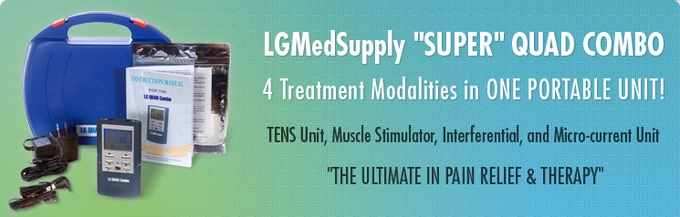 (4 Treatments!) LG-QUAD TENS Unit, Muscle Stimulator, Interferential Unit and Microcurrent in One  (LG-SUPERQUADCOMBO)