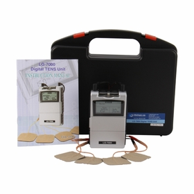 Professional LG-7000 Digital TENS Unit w/ 5 Treatment Modes - Hard Carrying Case, Electrodes, Lead Wires, and Battery Included