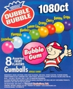 "Dubble Bubble Assorted 3/4"" Gumballs 1080ct"