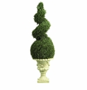 4' Artificial Cedar Spiral Topiary Tree in Decorative Vase Indoor or Outdoor