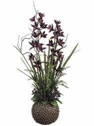 "38"" Artificial Cymbidium Flowers in Urchin Ceramic Container"