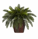 "19"" Artificial Double Cycas Plant with Decorative Vase"