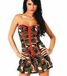 Camo Bustier and Mini Skirt - Camo Lingerie or Costume