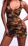 Sheer Cutout Camo Lingerie Stretch Chemise