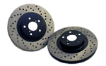 StopTech Cross Drilled Rear Rotors(Akebono Sport) - 09+ Nissan 370z