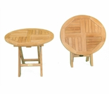 "Teak Round 19"" Folding Table - Out of Stock til Mar"